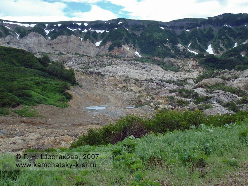 Долина гейзеров, вид на оползень
