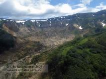 Долина гейзеров, вид с вертолета на оползень